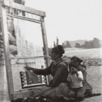 Betty-Jackson and family at her loom