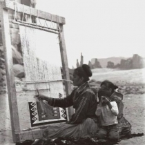 Betty Jackson and Children at Her Loom
