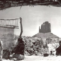 Navajo Weavers at Home Near the Mittens