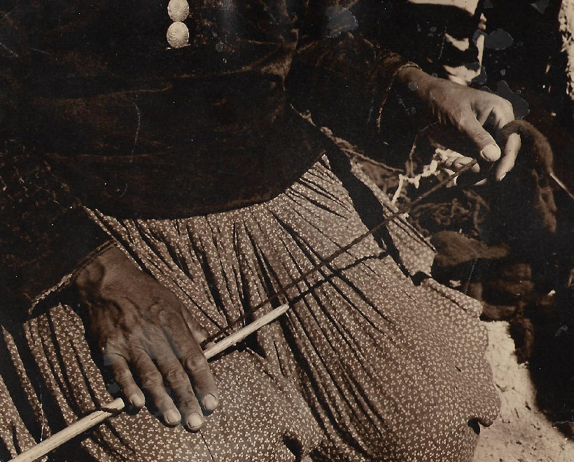 Navajo Hands Spinning the Wool