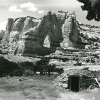 Hogan beneath White Mesa Arch