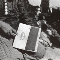 Navajo artisan carding the wool